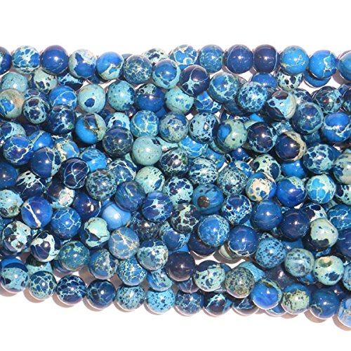 Jasper Sea Sediment (TheTasteJewelry 4mm Round Sea Sediment Dark Blue Jasper Beads 15 inches 38cm Jewelry Making Necklace Healing)