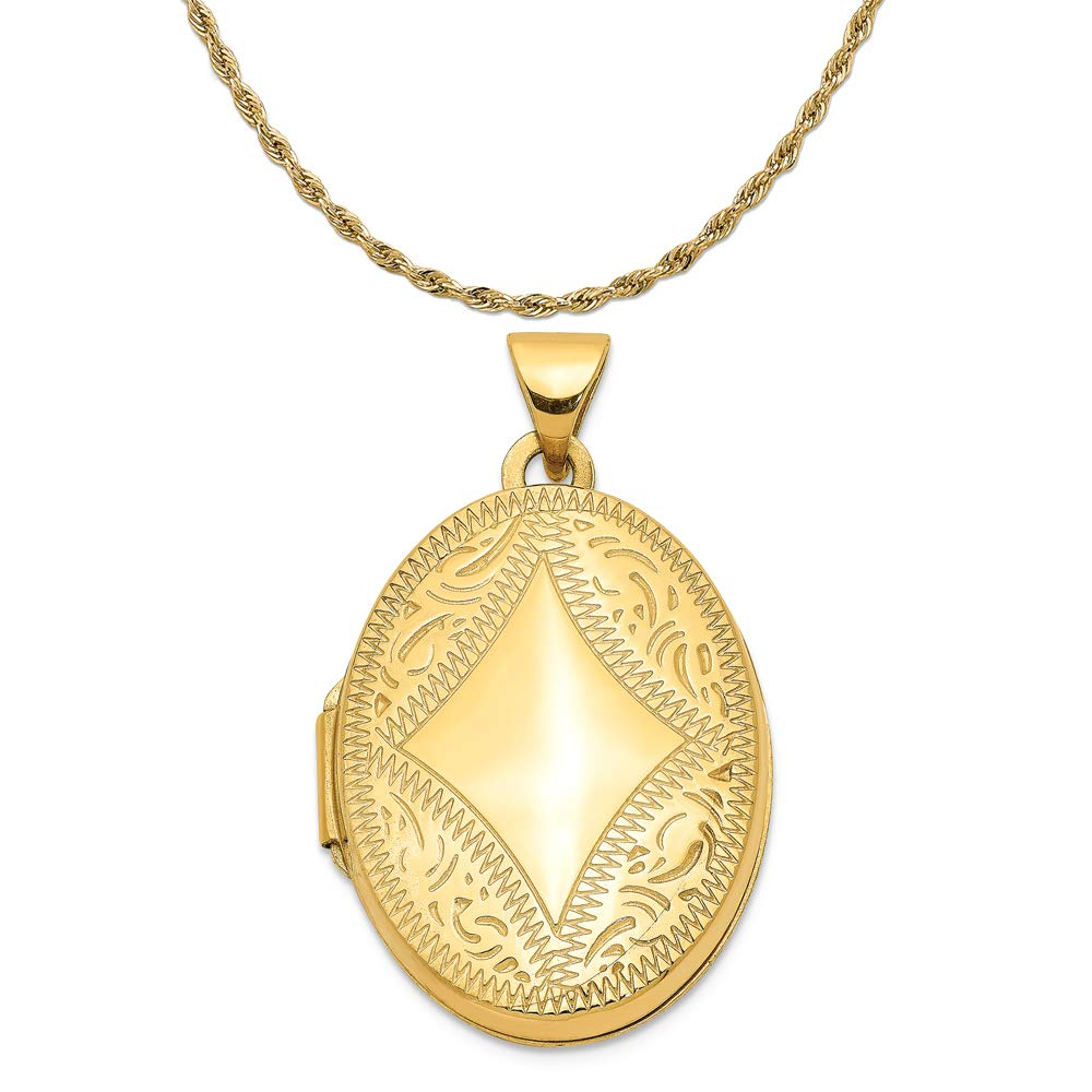 Mireval 14k Yellow Gold Oval Locket Pendant on a 14K Yellow Gold Rope Chain Necklace, 18'' by Mireval