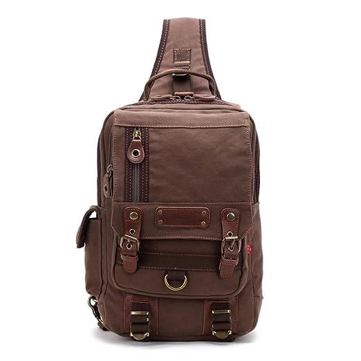 a39af3350f33 Amazon.com  Justpack Canvas Cross Body Messenger Bag One Strap Shoulder  Backpack Oversized Sling Bag Travel Rucksack (Coffee)  Clothing