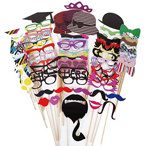 [KIMILAR 76pcs Newest Photo Booth Props DIY Kit for Wedding Party Reunions Christmas Birthdays Photo booth Dress-up Accessories Costumes with Mustache on a stick, Hats, Glasses, Mouth,] (Simple Creative Costumes)