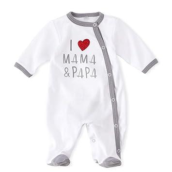 e39227f2e2 Baby Sweets Baby Schlafanzug Strampler weiß grau | Motiv: I Love Mama &  Papa