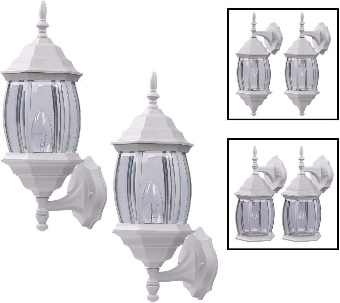 Outdoor Exterior Wall Light Fixture Lantern Porch Patio Downlight Uplight Twin Pack, White