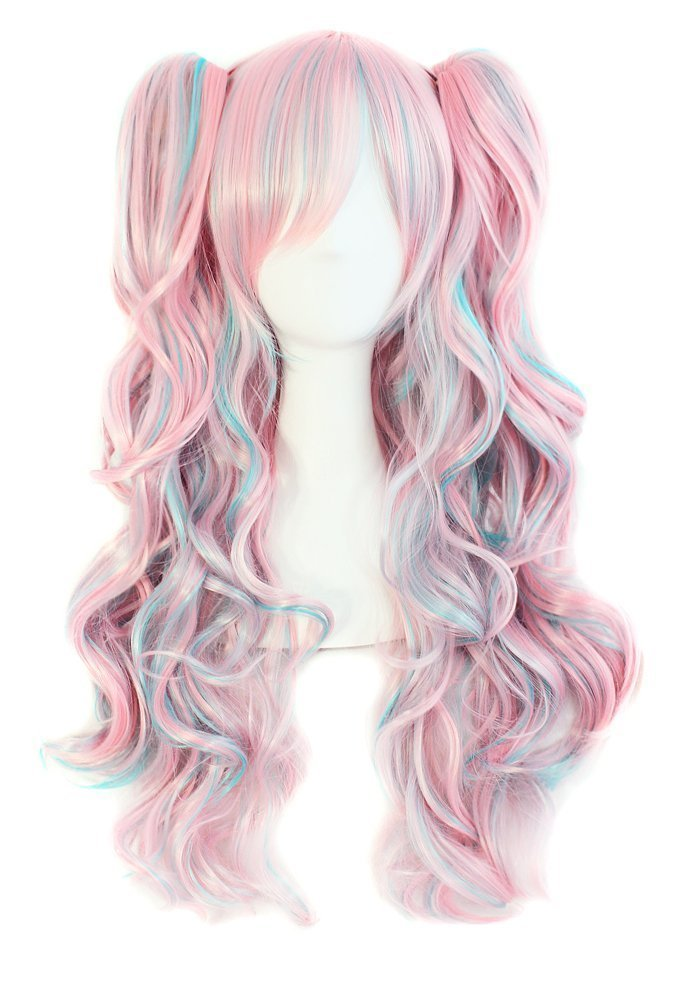 Tsnomore Multi-color Lolita Long Curly Clip on pigtail Cosplay Wig (Pink With Blue Highlights)
