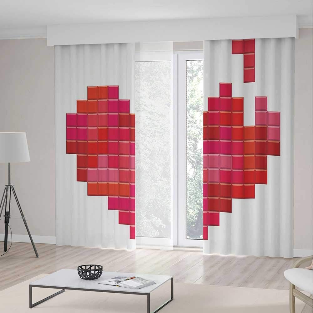 TecBillion Decor Collection,Valentines Day for Living Room,Video Game Tetris Red Heart Vintage Pixelated Design Joyful Romantic,118Wx106L Inches
