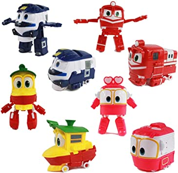 LQT Ltd - Juego de 4 Piezas de Juguetes de Tren de Robot de 13 cm de PVC Modelo RT Coche Robot Trenes Alf Transformación Anime acción y Figuras de Juguete para