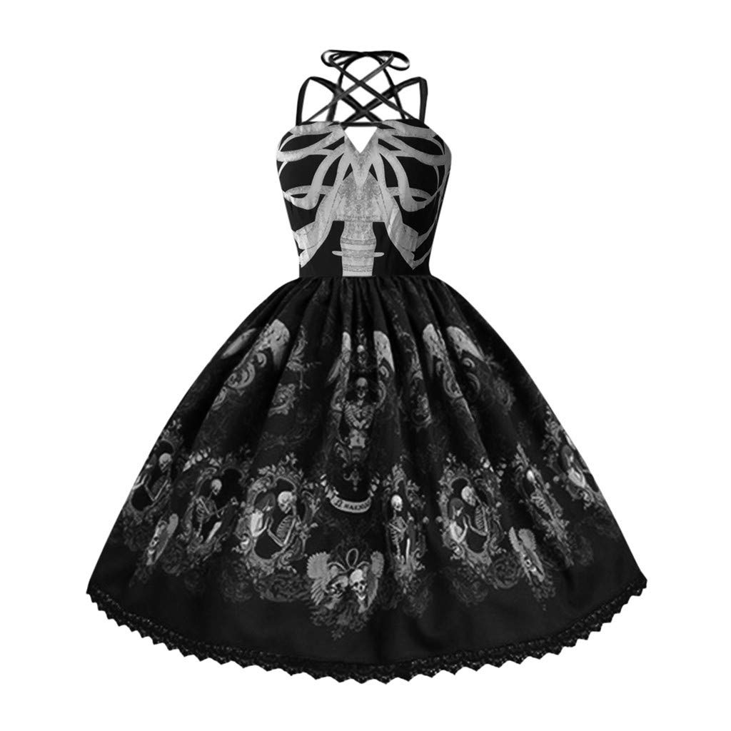 Womens Lolita Dress Skull Print Vintage Gothic Punk Style Strap Slim Fit Big Swing Hepburn Dress Cosplay Costumes