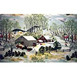 OuthwaiteOnlineStore Grandma Moses Christmas Paintings Grandma moses christmas D:371 Oil Painting Reproduction on Canvas Prints Wall Art 16x20inch