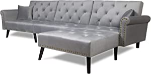 Sectional Sofa Bed with Chaise Recliner Back Modern Day Bed Nailhead Trim for Living Room Small Spaces (Light Grey)