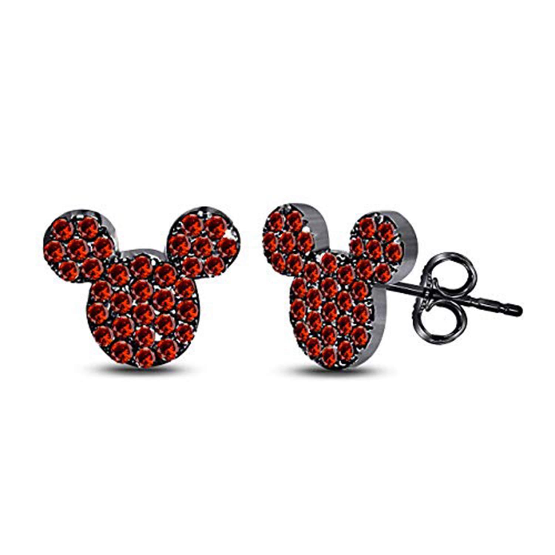Disney Micky Mouse Stud Earrings 14K Black Gold Fn Ruby CZ Stone Alloy Womens Girls Kids Jewellery