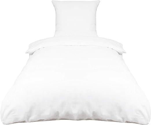 ZOLLNER Juego de Funda nórdica Blanca, 100% algodón, Cama 80 ...