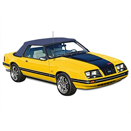 Sierra Auto Tops Convertible Soft Top Replacement Compatible With Ford Mustang 1983 1990 Pinpoint Vinyl Cadet Blue