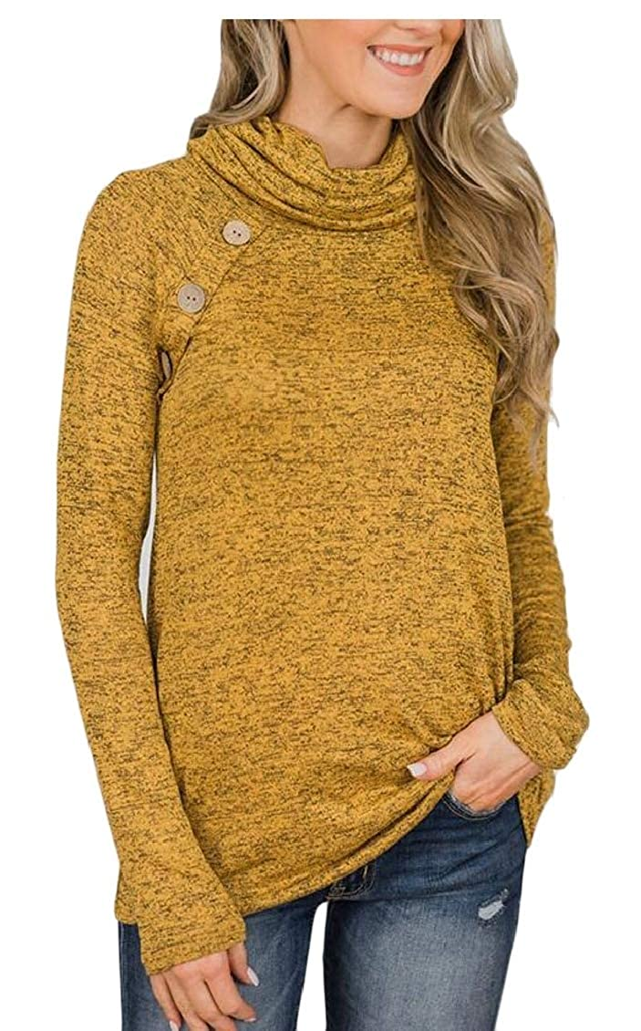 Hokny TD Womens Long Sleeve Buttons Cowl Neck Slim Fit Sweatshirt Pullover