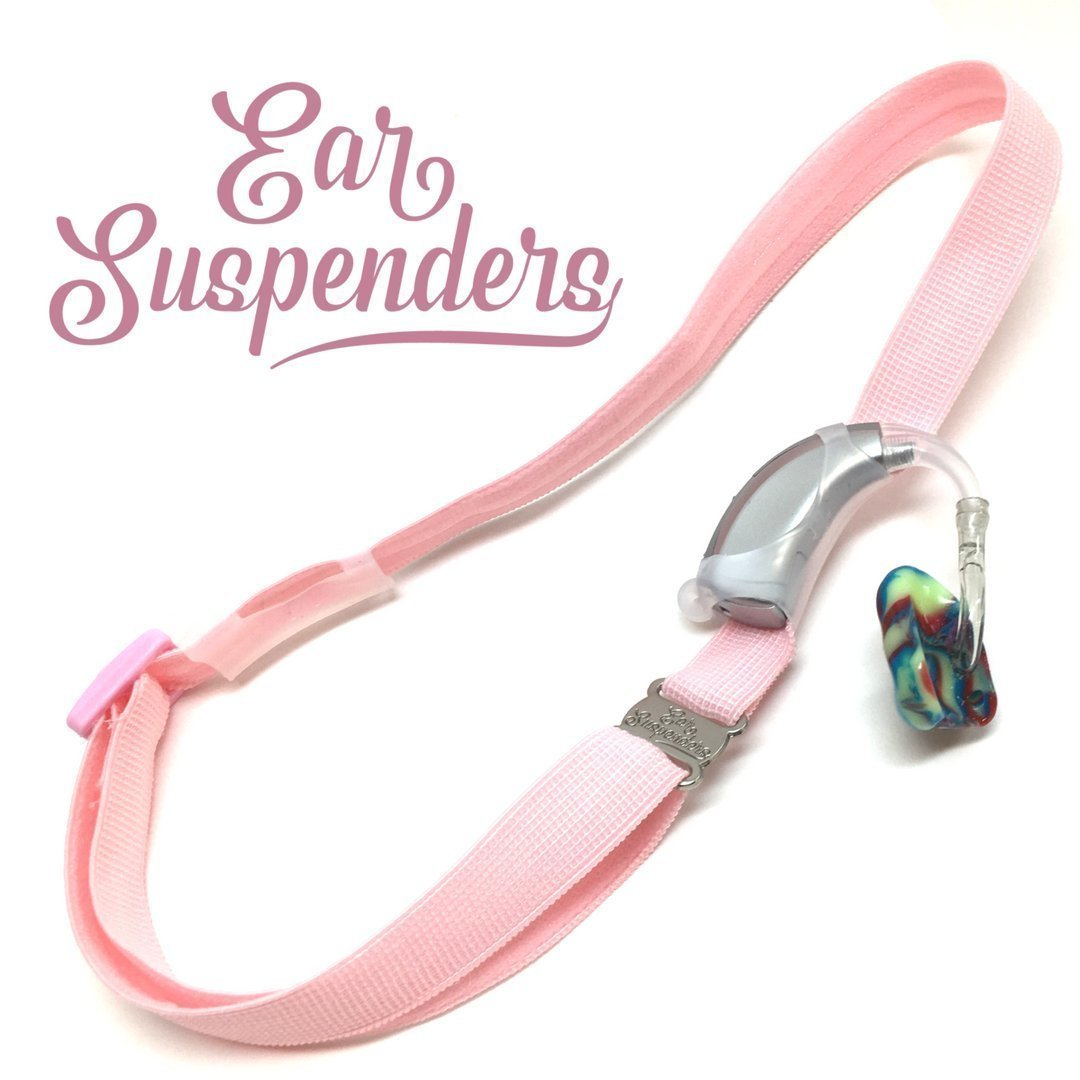 Ear Suspenders Headband for Hearing Aid Retention (Light Pink)
