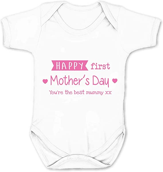 OUR FIRST MOTHER/'S DAY PERSONALISED BABY GROW VEST CUSTOM FUNNY GIFT CUTE