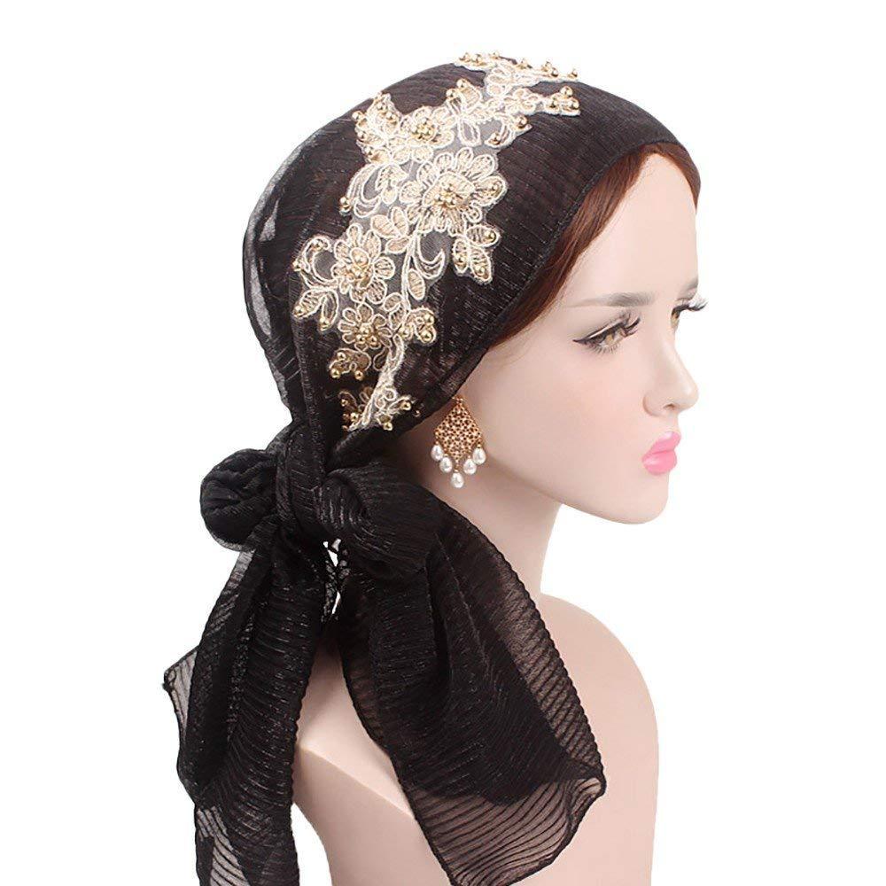 HX fashion Señoras Musulmanas Turban Hijab con Seda Retro Pañuelo Gorra Mujeres Basic Islámicas Headwear Diadema Estiramiento Wrap Cap Ropa (Color : Grau, ...