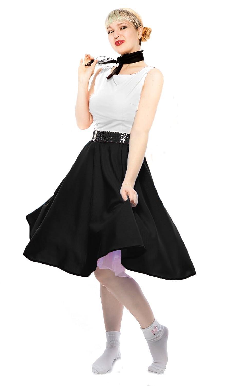 1950s Costumes Black Circle Skirt & Sheer Scarf Set - 50s Sock Hop Swing Dance Retro Costume $34.99 AT vintagedancer.com