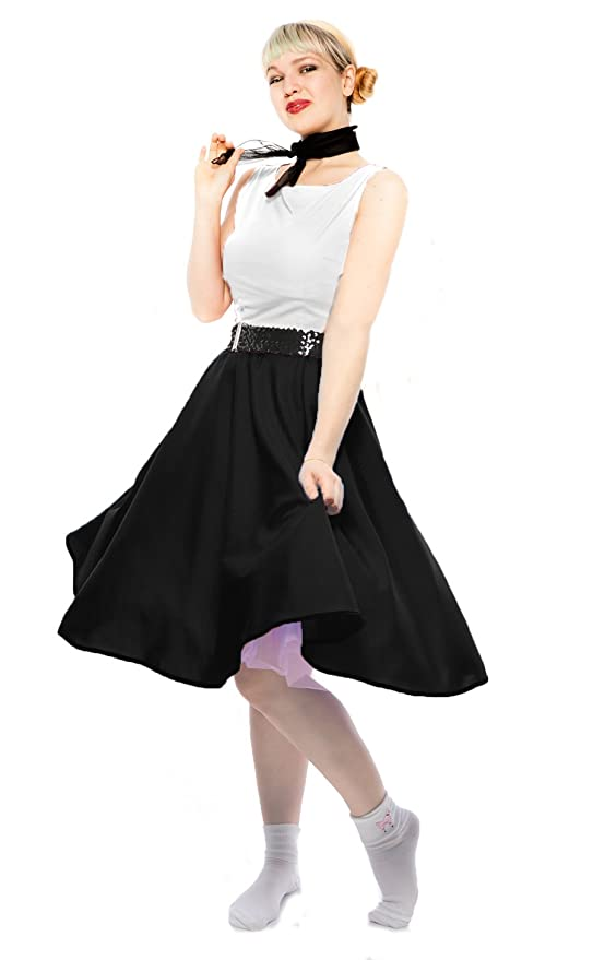 1950s 50s Costumes- Poodle Skirts, Grease, Monroe, Pin up, I Love Lucy Black Circle Skirt & Sheer Scarf Set - 50s Sock Hop Swing Dance Retro Costume $34.99 AT vintagedancer.com