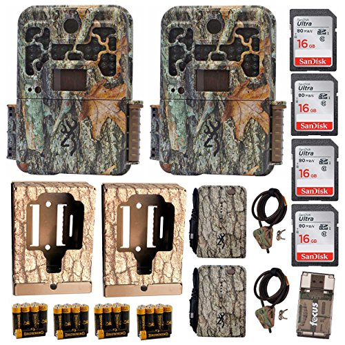 2 Browning Recon Force FHD Extreme Trail Cams + Lockbox + Cables + 4 Cards + Focus Reader + Battery Pack + AAs