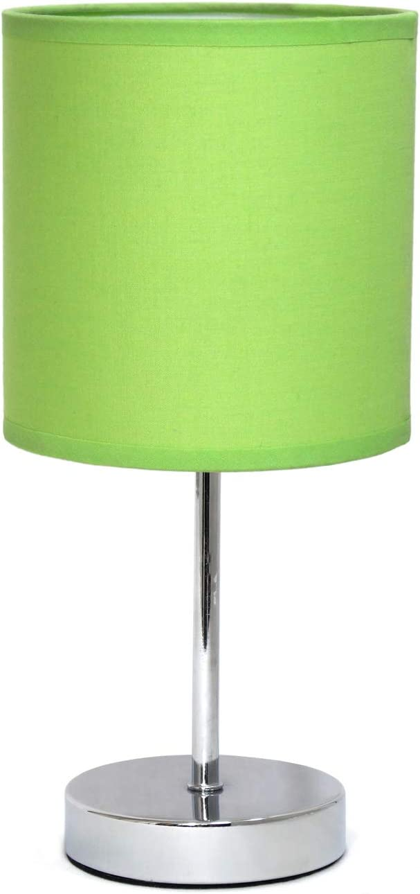 "Simple Designs Home LT2007-GRN Simple Designs Chrome Mini Basic Table Lamp with Fabric Shade, 5.51"" x 5.51"" x 11.81"", Green"