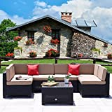 Cheap Cloud Mountain 7 Piece Outdoor Patio Rattan Wicker Sectional Sofa Set Backyard Furniture Set Outdoor Patio Garden Sectional Sofa Set, Black Rattan with Khaki Cushions