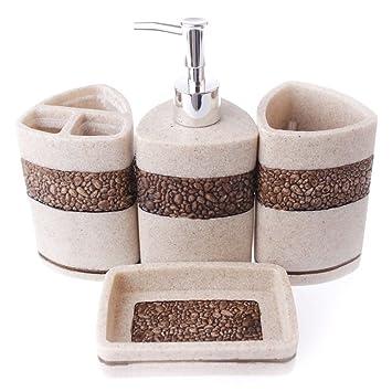 Juego de accesorios de baño de 4 piezas (jabonera, dispensador de jabón, vaso, recipiente para cepillo de dientes), de resina: Amazon.es: Hogar