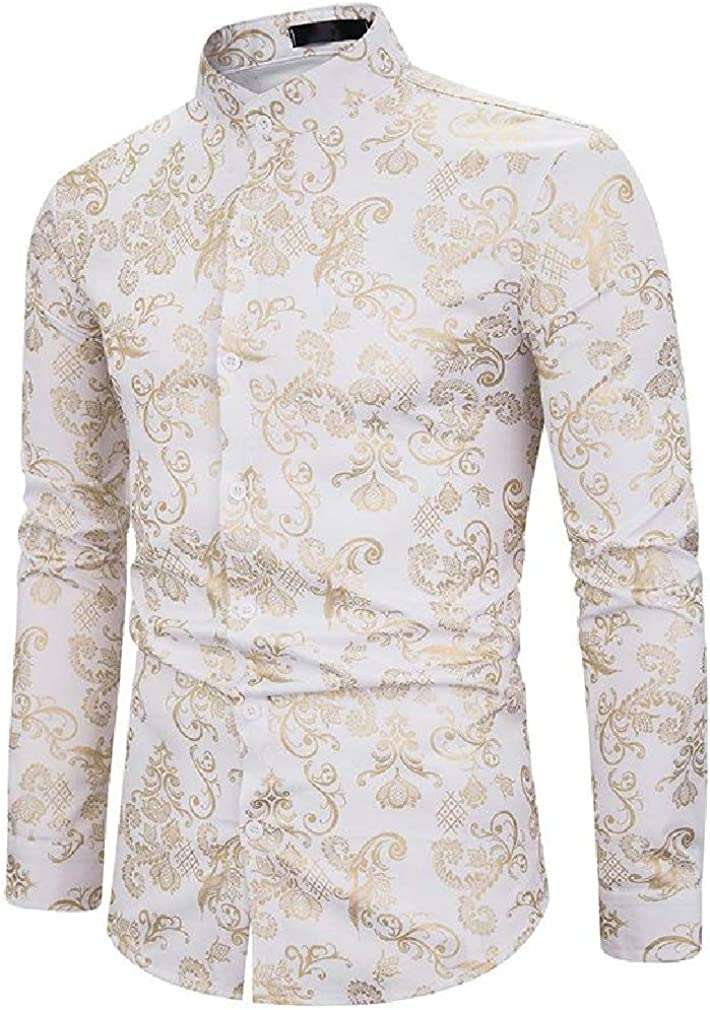 Sweatwater Men Print Stand Collar Autumn Metallic Curved Hem Button Down Shirts