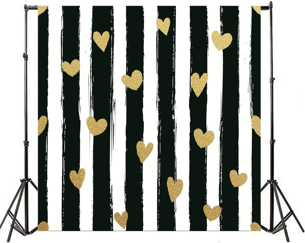 Yeele 10x10ft Horizontal Stripe Photography Backdrops Vinyl Colored Line Golden Point Ornament Photo Background Wall Baby Shower Newborn Kid Infant Birthday Party Video Shoot Studio Props