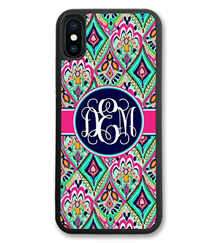 iPhone X Case Pretty Floral Jewels With Monogram, Monogrammed Personalized, Hard Rubber iPhone 10 Case (4.7 inch) by Simply Customized (Monogram Jewel)