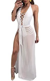 4743110d60da Adogirl Womens Low Cut Backless Lace Up Halter Tops Sheer Split Romper  Jumpsuit Maxi Dress