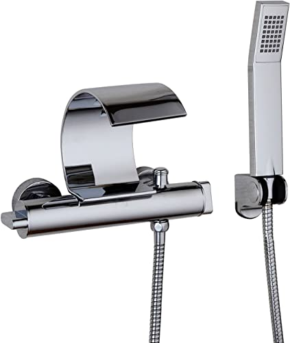 Bathroom Bathtub Faucets Wall Mounted Shower Set Solid Brass Curve Chrome Polished With Handheld Shower