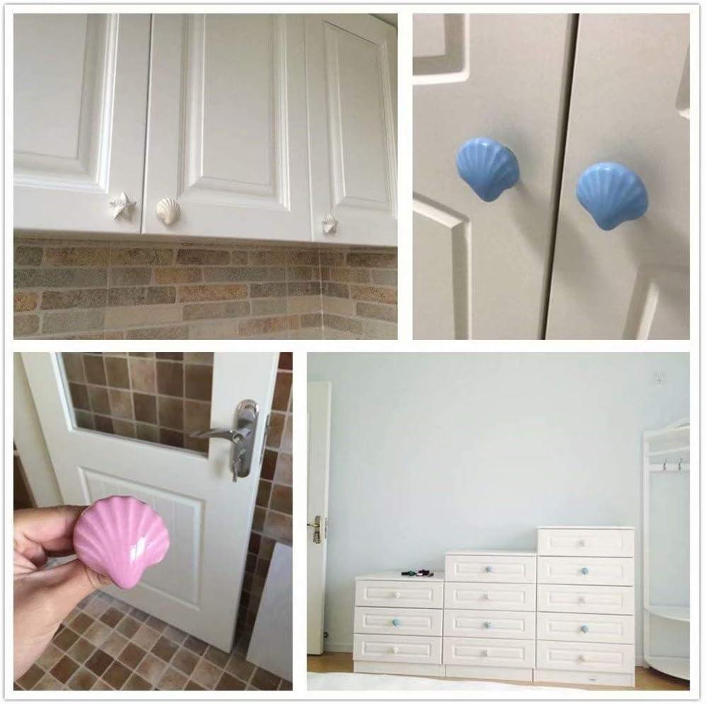 TM 10 pomos para puerta de armario con forma de concha y tirador para caj/ón de armario//armario amarillo FBSHOP