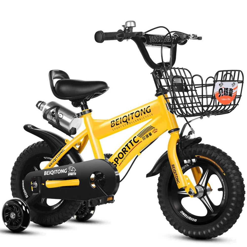 Bicicletta per Bambini e Bambine dai 6 Anni nei da 18 Pollici con Freno a V e contropedale - BMX da 18  Modello 2019,giallo