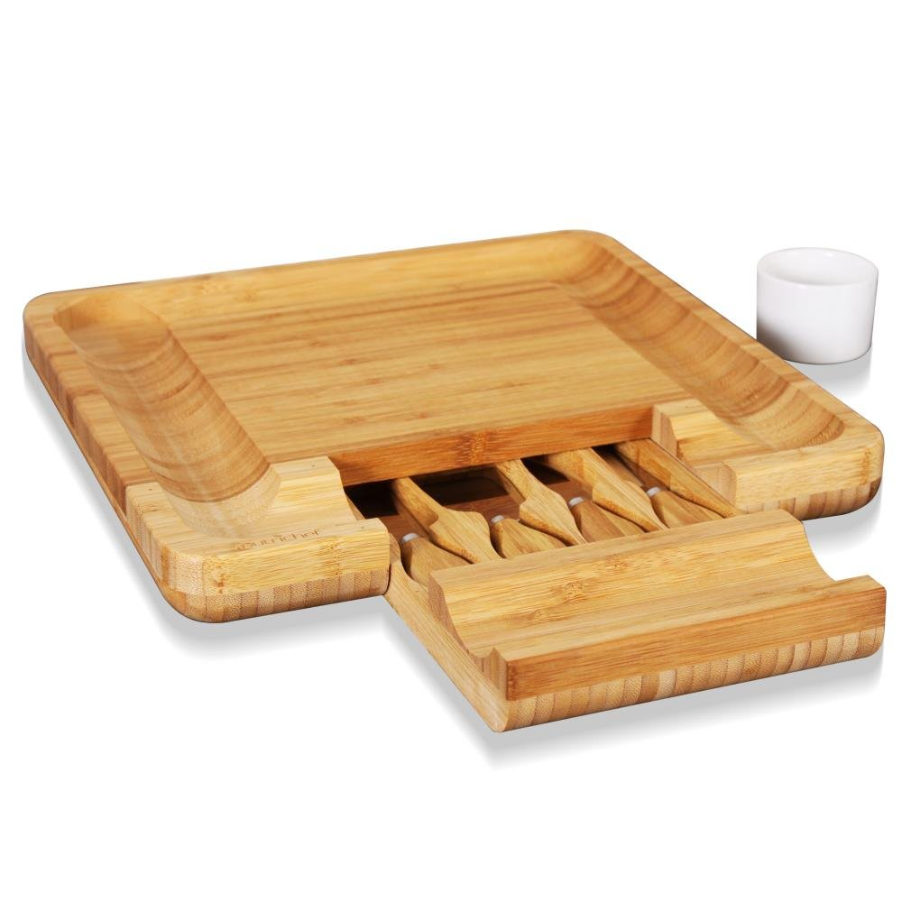 Bamboo Cheese Cutting Board Set - Bonus Condiment Cup - Closing Drawer Tray, 4 Stainless Steel Knives - Flat Wood Rectangle Serving Platter Plate Kit Fruit Meat - NutriChef by NutriChef (Image #9)