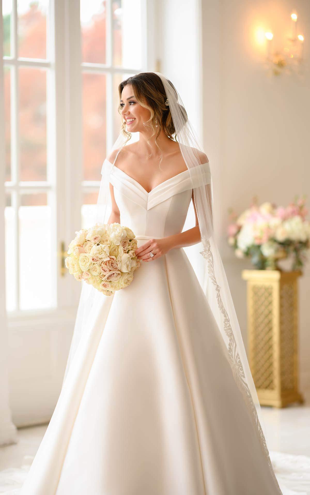 Women S A Line Long Wedding Dress Off The Shoulder Satin Bridal Dresses For Bride