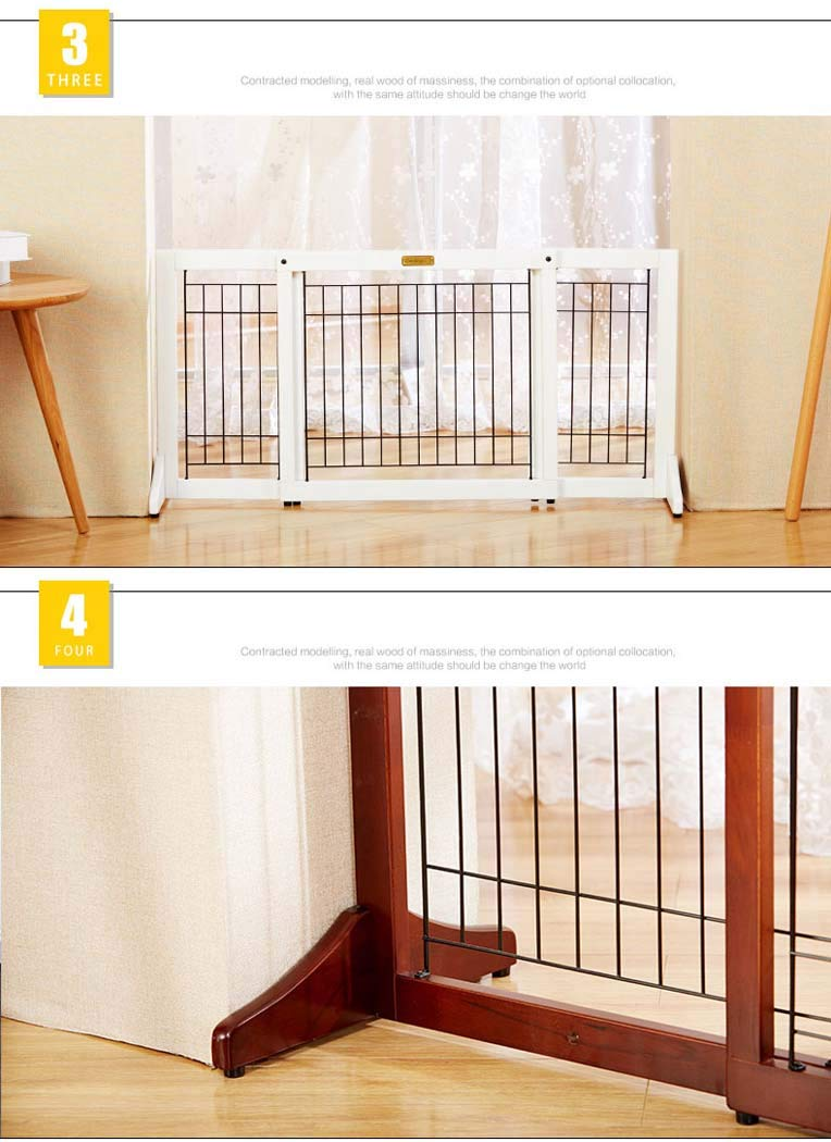 White Small White Small Solid Wood Adjustable Push-Pull Mobile greenical Dog Fence, Predective Door Stop, Security Door bar, pet Isolation Fence Dog bar,White,S