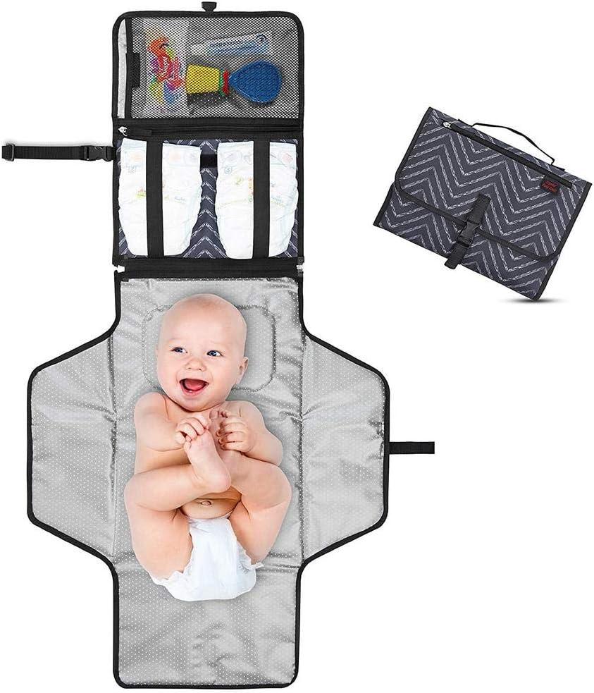 Cambiador Portátil de Pañales para Bebé - Kit Cambiador de Viaje - Completamente Acolchado - Esterilla Lavable de Quita y Pon - Para Usar Fuera y en la Casa - Perfecto como Regalo (Dark Gray)