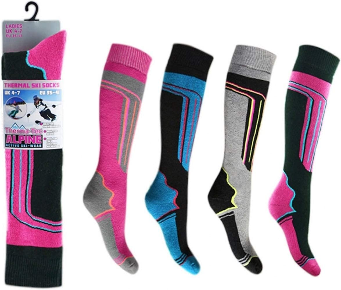4 Pairs HIGH PERFORMANCE ladies ski socks long hose thermal Alpine Ski Boot Socks