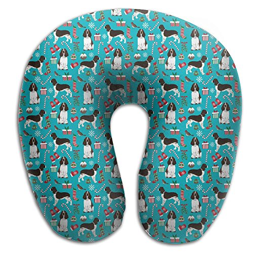 Bulldogs Pillow Santa (English Springer Christmas Santa Paws Dogs Travel Pillow U Shaped Pillow Memory Foam Washable Cover For Travel,Home,Neck Pain,Airplane,Car,Bus Or Camping)