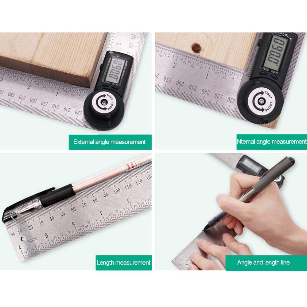 Metal Protractor Ruler,Teepao 360 Protractor,Digital Angle Ruler LCD Goniometer Angle Gauge 200mm / 7inch Stainless Steel Ruler with Zeroing/Locking Function by Teepao (Image #5)