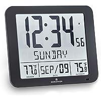 Marathon CL030027 Atomic Wall Clock with 8 Timezones, Indoor/Outdoor Temperature & Date - Batteries Included