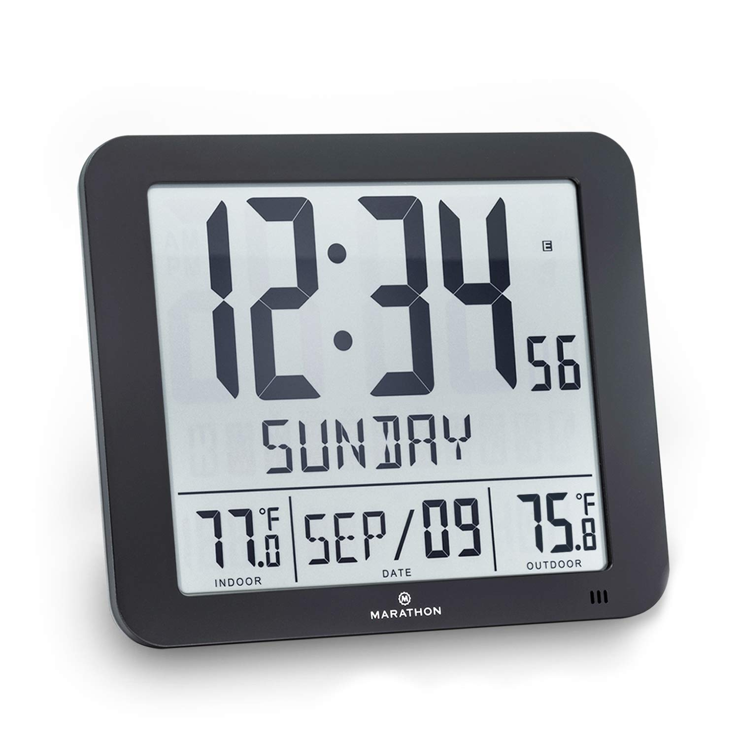 Marathon CL030027-FD-BK Slim Atomic Wall Clock with Indoor/Outdoor Temperature, Full Calendar and Large Display (New Full Display) Color: Black.
