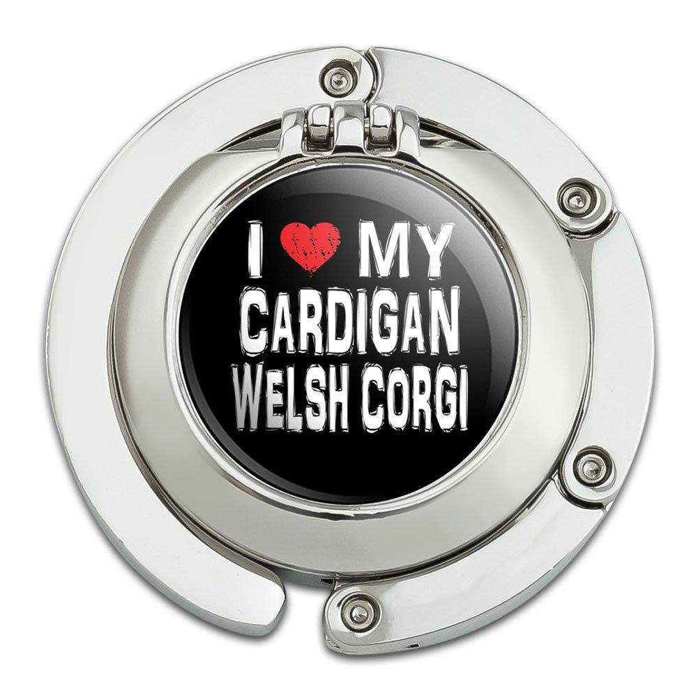 I Love My Cardigan Welsh Corgi Stylish Foldable Table Bag Purse Caddy Handbag Hanger Holder Hook with Folding Compact Mirror