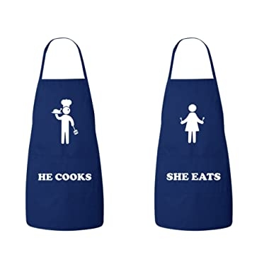 FASCIINO® Set of He Cooks She Eats His and Hers Chef Couples Apron Valentines Wedding Bridal Gift 2pcs (Navy)