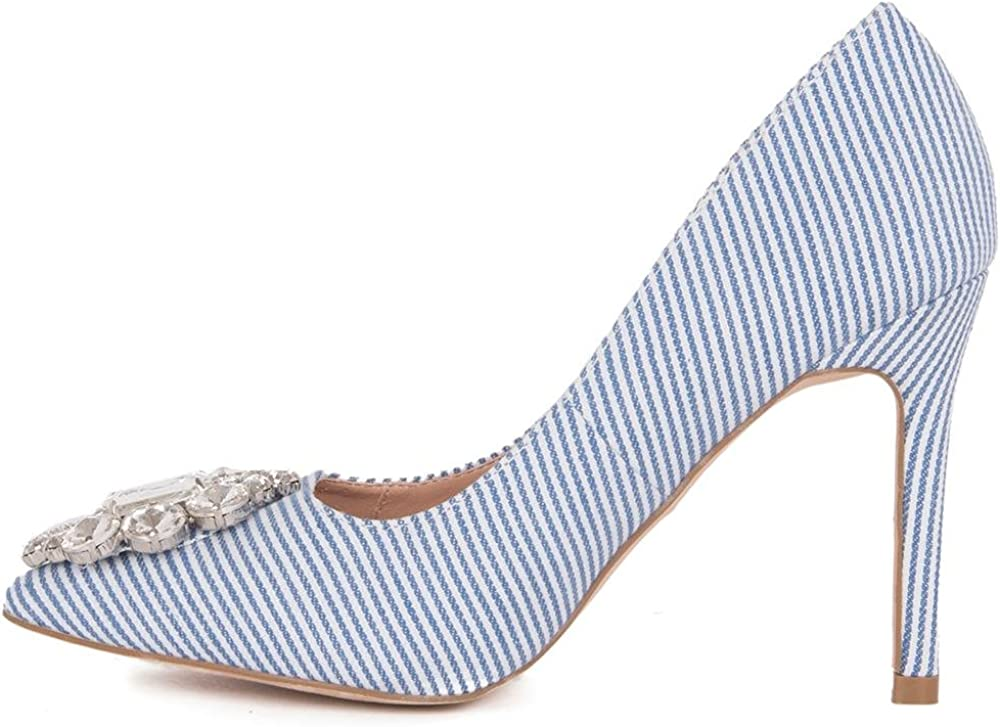 Lauren Lorraine Rita Rhinestone Embroidered Broche Pointed Toe Blue Stripe Pump