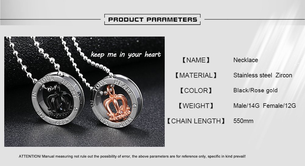 HQLA His or Hers Matching Set 2PC Titanium Stainless Steel Black/Rose Gold Plated Crown w/Cz Crystal in Silver Circle Couple Pendant Necklace Set for Lover Valentine By, (Keep Me in Your Heart) by HQLA (Image #4)