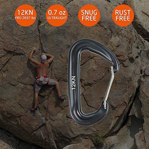 pskook 12 KN Aviación aluminio mosquetones – 2 Pack – ligero mosquetones de escalada para escalada en hamaca balancín