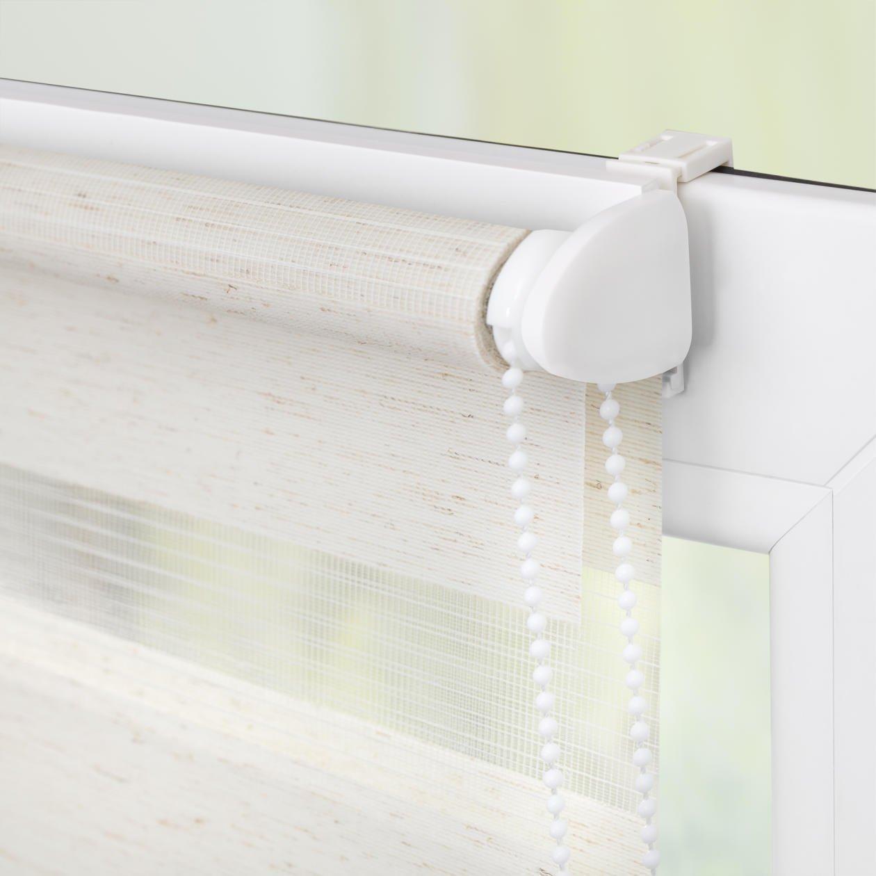 Doppelrollo f/ür Fenster /& T/üren moderner Sichtschutz KLEMMFIX Tag /& Nacht Duo Rollo Easyfix Variorollo Mini ohne Bohren Seitenzugrollo /& Jalousie Natur HxB 160x45 cm