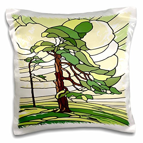 Russ Billington Designs - Green and Yellow Stained Glass Pine Tree Design - 16x16 inch Pillow Case