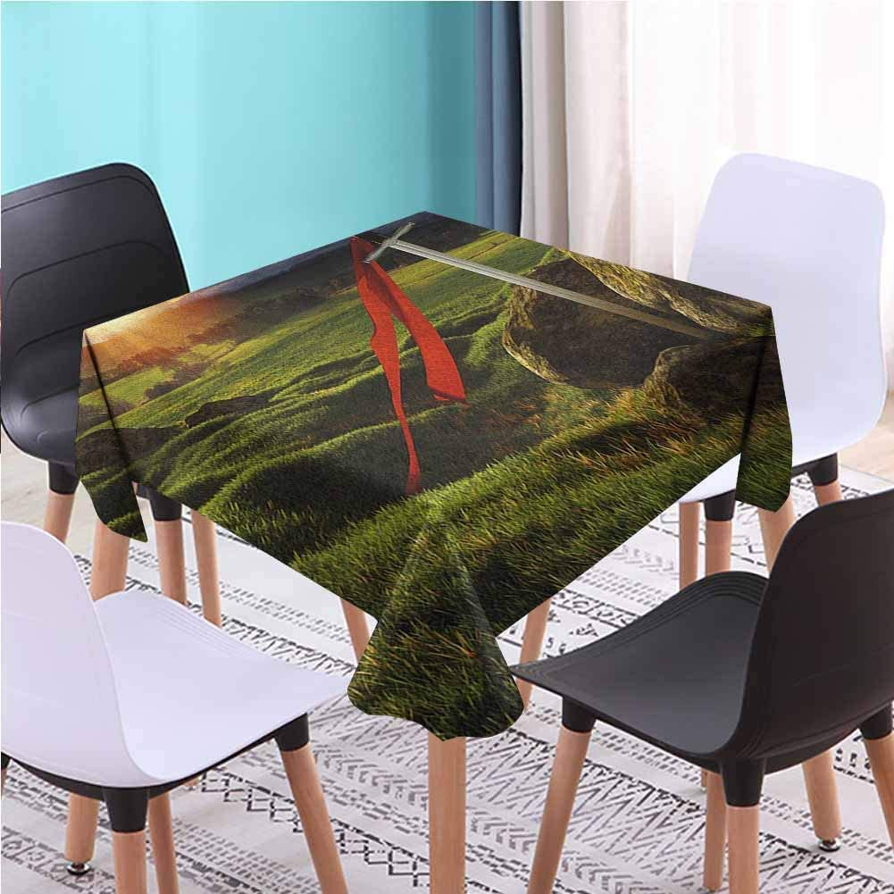 Zara Henry Design King Patio Dining Square Table Cloth, Arthur Camelot Legend Myth in England Ireland Fields Invincible Myth Image Green Blue and Red Modern Tablecloths, 36x36 Inch