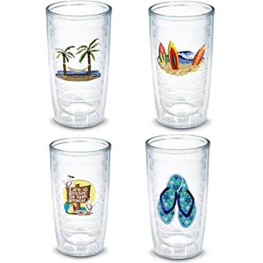 Tervis 16 Ounces Double Wall Tumblers, Beach Collection, Set of 4